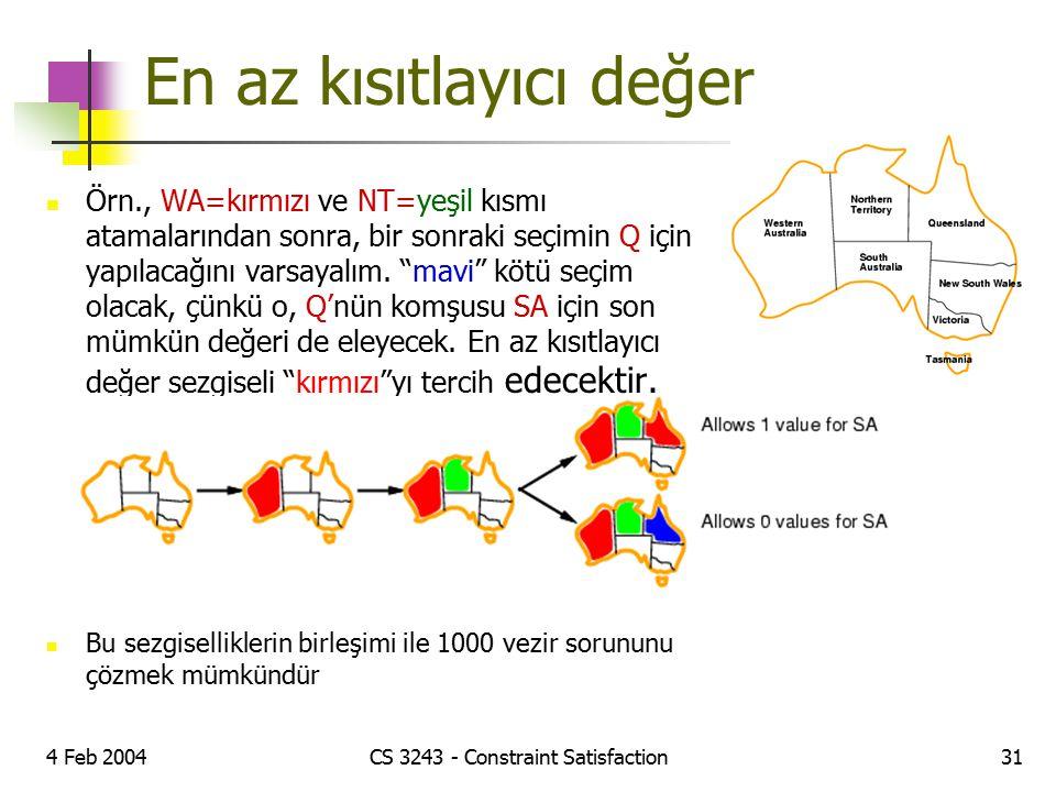 4 Feb 2004CS 3243 - Constraint Satisfaction31 En az kısıtlayıcı değer Örn., WA=kırmızı ve NT=yeşil kısmı atamalarından sonra, bir sonraki seçimin Q iç