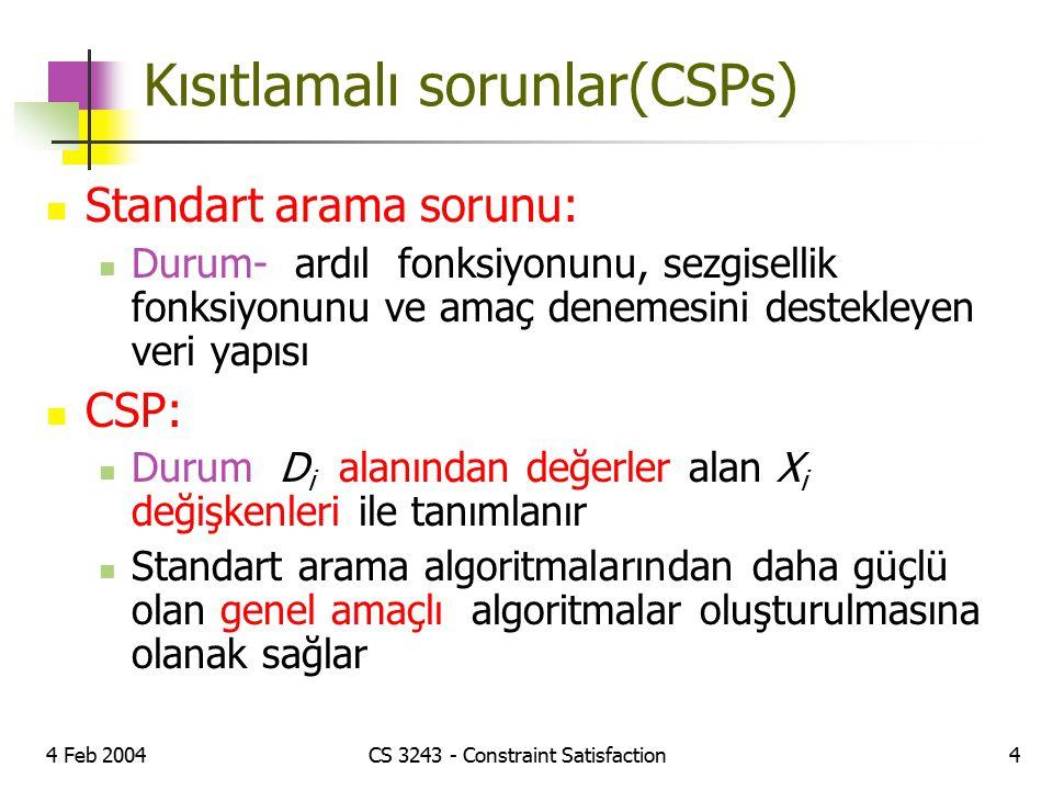 4 Feb 2004CS 3243 - Constraint Satisfaction4 Kısıtlamalı sorunlar(CSPs) Standart arama sorunu: Durum- ardıl fonksiyonunu, sezgisellik fonksiyonunu ve