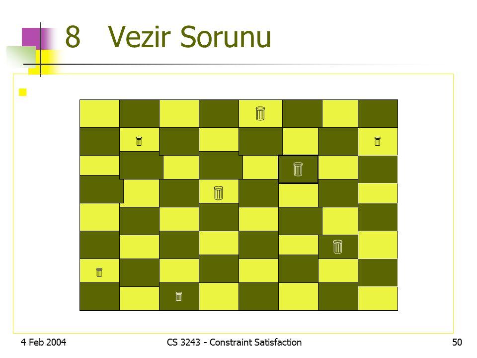 4 Feb 2004CS 3243 - Constraint Satisfaction50 8 Vezir Sorunu        