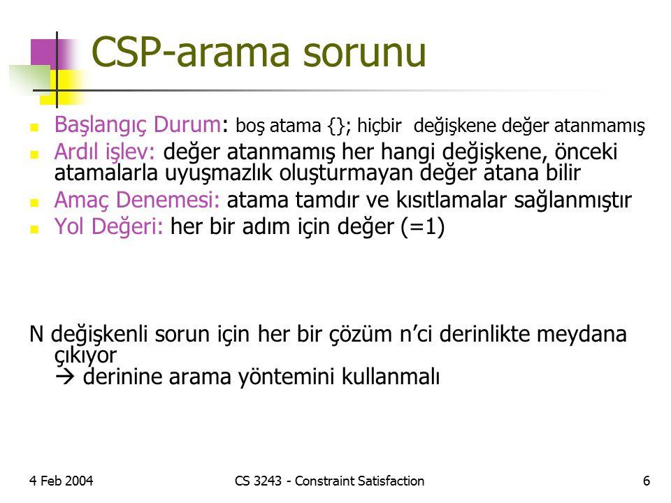 4 Feb 2004CS 3243 - Constraint Satisfaction6 CSP-arama sorunu Başlangıç Durum: boş atama {}; hiçbir değişkene değer atanmamış Ardıl işlev: değer atanm