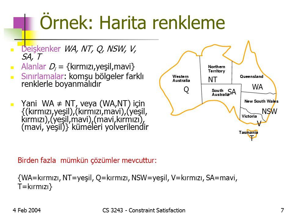 4 Feb 2004CS 3243 - Constraint Satisfaction7 Örnek: Harita renkleme Deişkenker WA, NT, Q, NSW, V, SA, T Alanlar D i = {kırmızı,yeşil,mavi} Sınırlamala