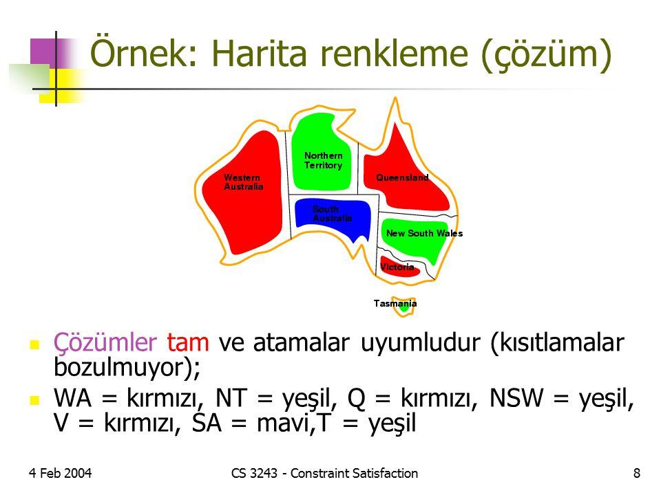4 Feb 2004CS 3243 - Constraint Satisfaction8 Örnek: Harita renkleme (çözüm) Çözümler tam ve atamalar uyumludur (kısıtlamalar bozulmuyor); WA = kırmızı