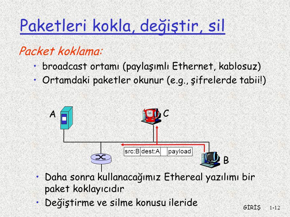 GİRİŞ1-12 Paketleri kokla, değiştir, sil Packet koklama: broadcast ortamı (paylaşımlı Ethernet, kablosuz) Ortamdaki paketler okunur (e.g., şifrelerde tabii!) A B C src:B dest:A payload Daha sonra kullanacağımız Ethereal yazılımı bir paket koklayıcıdır Değiştirme ve silme konusu ileride