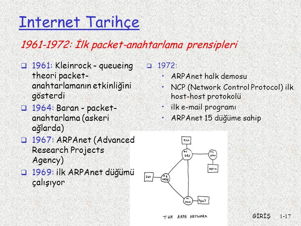 GİRİŞ1-17 Internet Tarihçe  1961: Kleinrock - queueing theori packet- anahtarlamanın etkinliğini gösterdi  1964: Baran - packet- anahtarlama (askeri ağlarda)  1967: ARPAnet (Advanced Research Projects Agency)  1969: ilk ARPAnet düğümü çalışıyor  1972: ARPAnet halk demosu NCP (Network Control Protocol) ilk host-host protokolü ilk e-mail programı ARPAnet 15 düğüme sahip 1961-1972: İlk packet-anahtarlama prensipleri