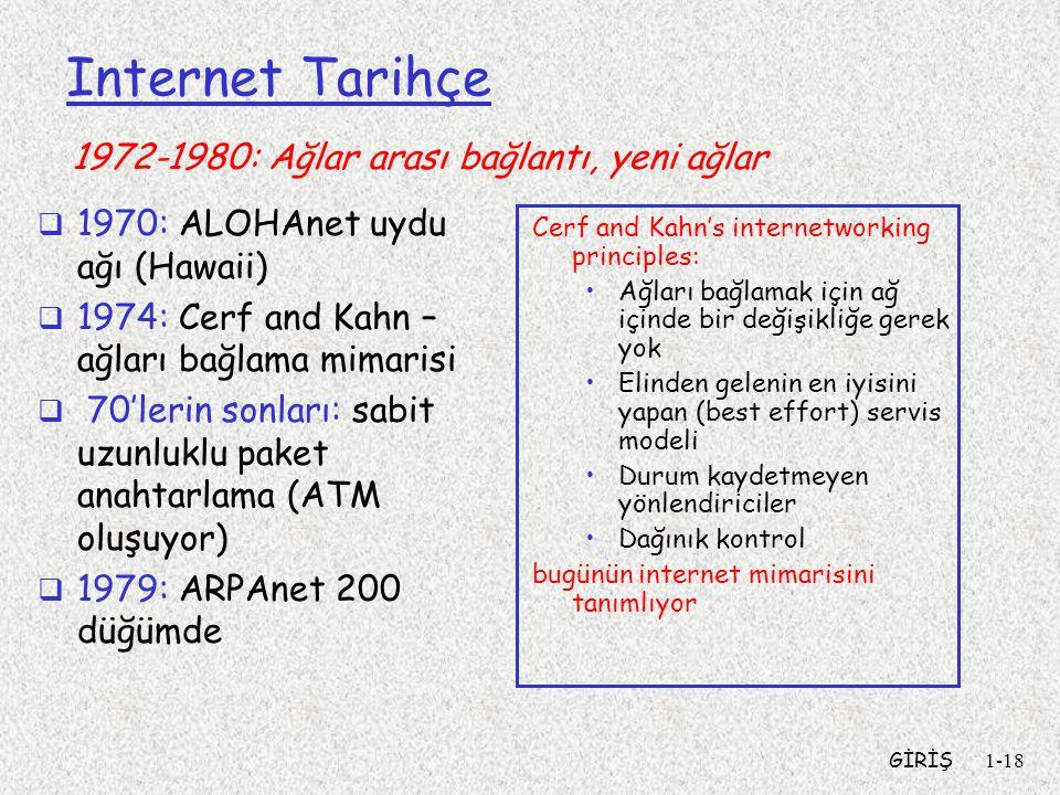 GİRİŞ1-18 Internet Tarihçe  1970: ALOHAnet uydu ağı (Hawaii)  1974: Cerf and Kahn – ağları bağlama mimarisi  70'lerin sonları: sabit uzunluklu paket anahtarlama (ATM oluşuyor)  1979: ARPAnet 200 düğümde Cerf and Kahn's internetworking principles: Ağları bağlamak için ağ içinde bir değişikliğe gerek yok Elinden gelenin en iyisini yapan (best effort) servis modeli Durum kaydetmeyen yönlendiriciler Dağınık kontrol bugünün internet mimarisini tanımlıyor 1972-1980: Ağlar arası bağlantı, yeni ağlar