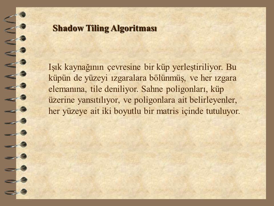 Shadow Tiling Algoritması Işık kaynağının çevresine bir küp yerleştiriliyor. Bu küpün de yüzeyi ızgaralara bölünmüş, ve her ızgara elemanına, tile den