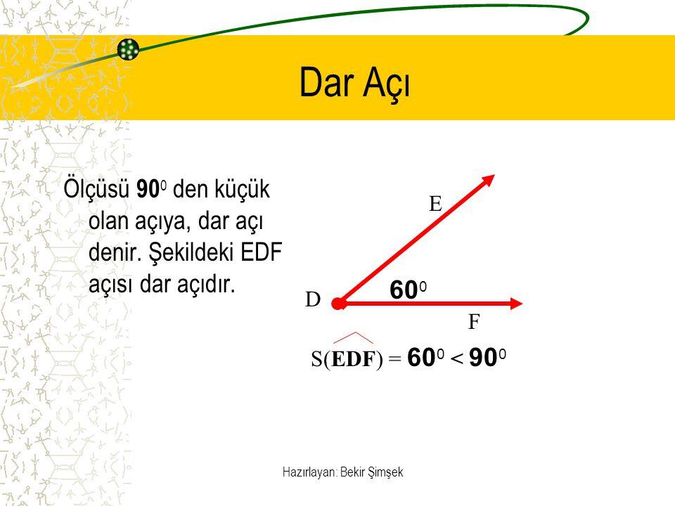 Hazırlayan: Bekir Şimşek Dar Açı Ölçüsü 90 0 den küçük olan açıya, dar açı denir. Şekildeki EDF açısı dar açıdır. 60 0 E F D S(EDF) = 60 0 < 90 0