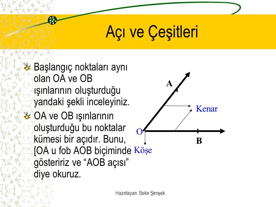 Hazırlayan: Bekir Şimşek Açı Ve Çeşitleri OA ışını ile OB ışınının oluşturduğu açı; AOB, BOA veya 0 biçiminde gösterilir.