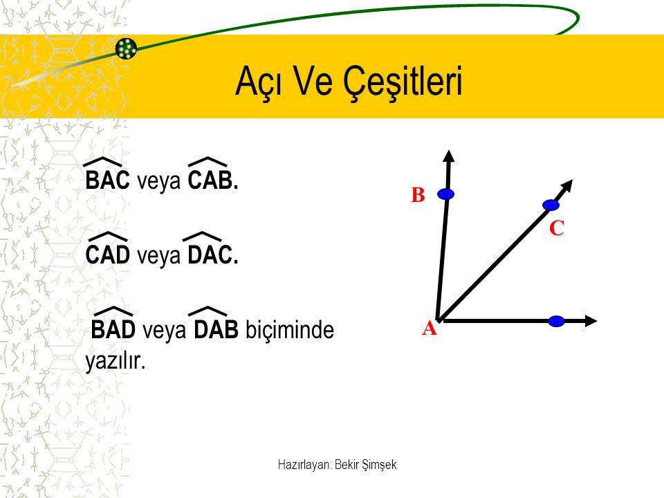 Hazırlayan: Bekir Şimşek Açı Ve Çeşitleri BAC veya CAB. CAD veya DAC. BAD veya DAB biçiminde yazılır. A C B