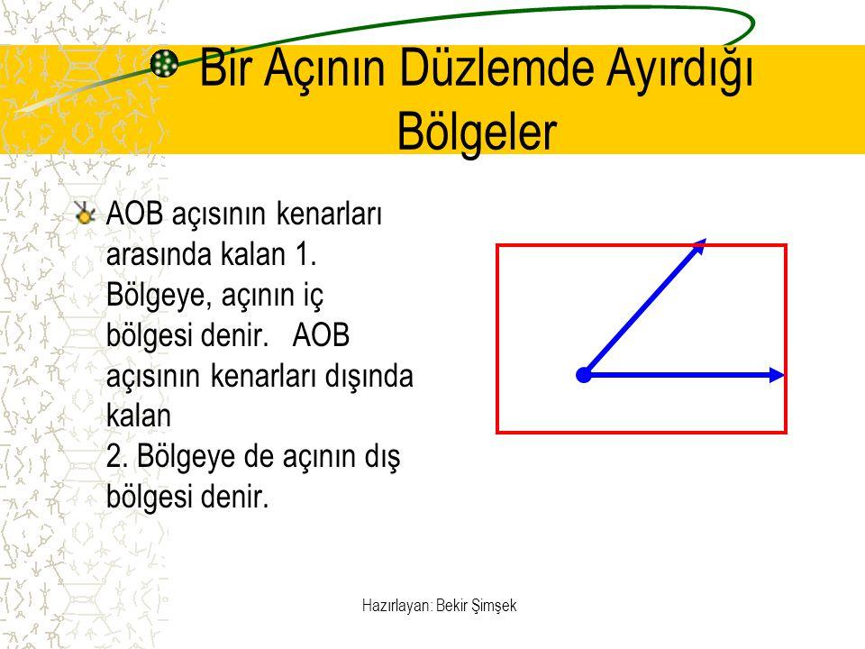 Hazırlayan: Bekir Şimşek Bir Açının Düzlemde Ayırdığı Bölgeler AOB açısının kenarları arasında kalan 1. Bölgeye, açının iç bölgesi denir. AOB açısının