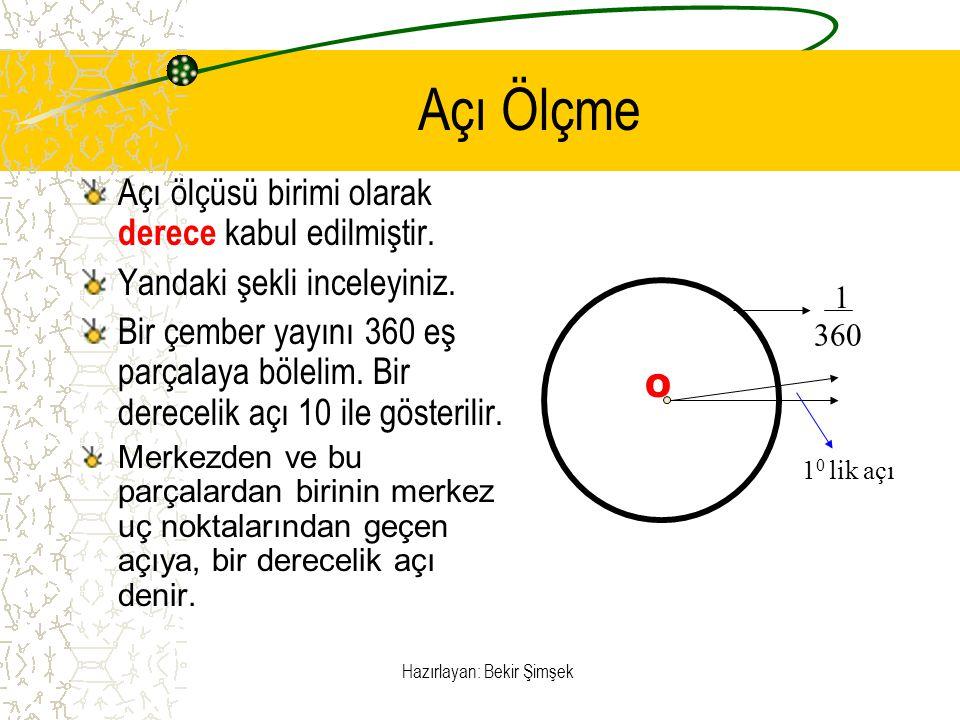 Hazırlayan: Bekir Şimşek Açı Ölçme Aşağıdaki şekilde, iletki ile AOB nin nasıl ölçüldüğü görülmektedir.