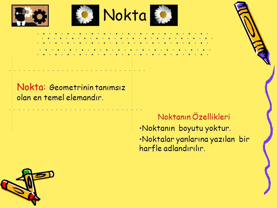 Nokta Nokta: Geometrinin tanımsız olan en temel elemandır. Noktanın Özellikleri Noktanın boyutu yoktur. Noktalar yanlarına yazılan bir harfle adlandır