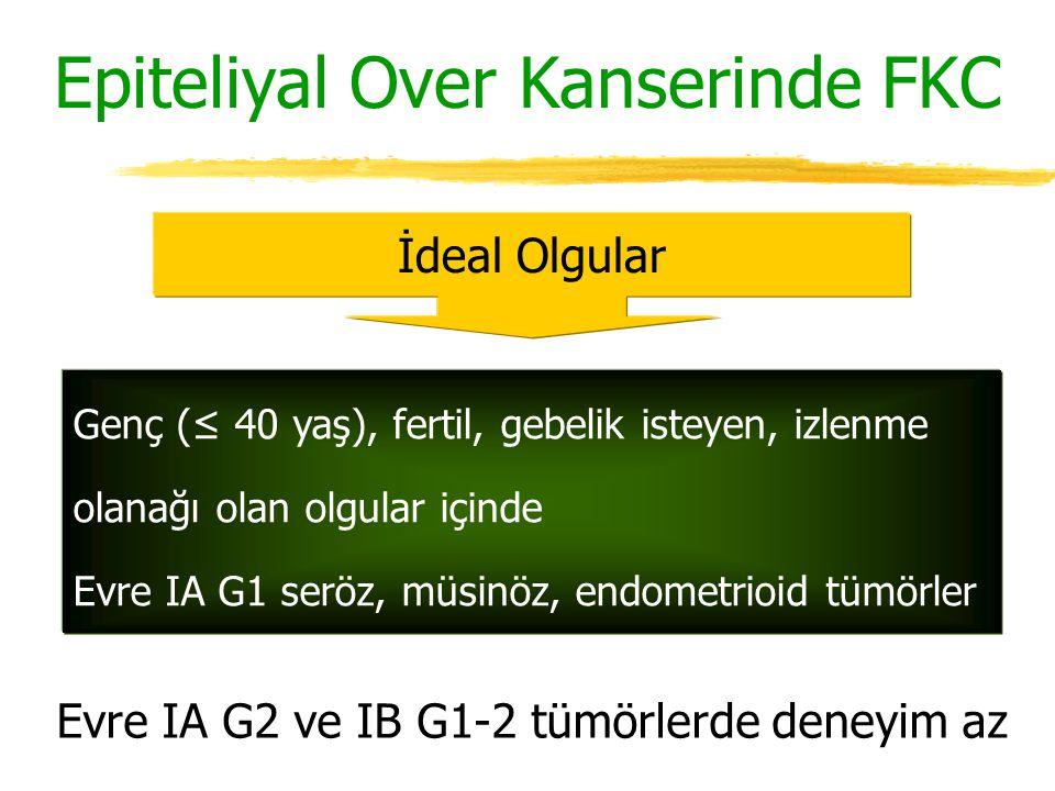 Epiteliyal Over Kanserinde FKC İdeal Olgular Genç (≤ 40 yaş), fertil, gebelik isteyen, izlenme olanağı olan olgular içinde Evre IA G1 seröz, müsinöz,