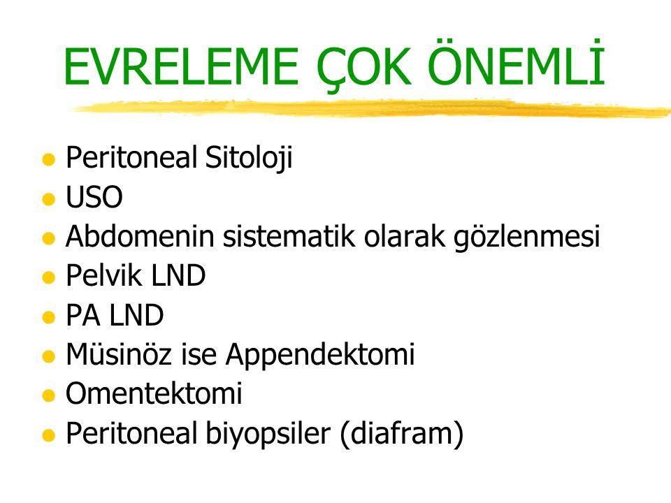 EVRELEME ÇOK ÖNEMLİ l Peritoneal Sitoloji l USO l Abdomenin sistematik olarak gözlenmesi l Pelvik LND l PA LND l Müsinöz ise Appendektomi l Omentektom
