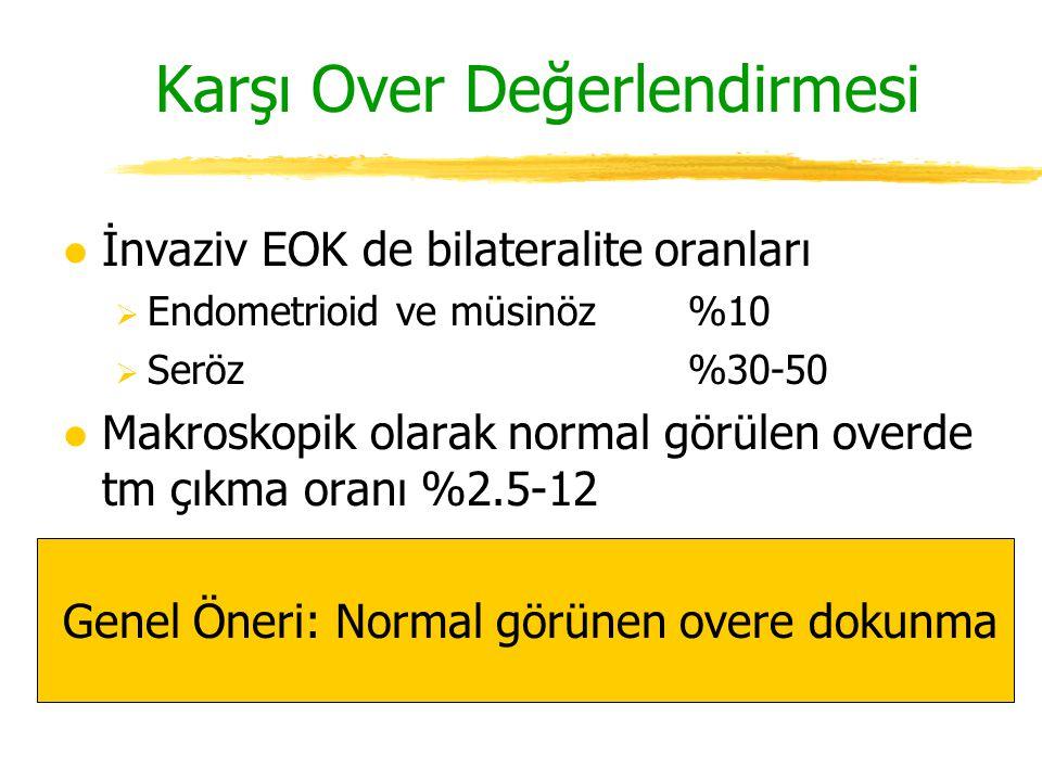 Karşı Over Değerlendirmesi l İnvaziv EOK de bilateralite oranları  Endometrioid ve müsinöz%10  Seröz%30-50 l Makroskopik olarak normal görülen overd
