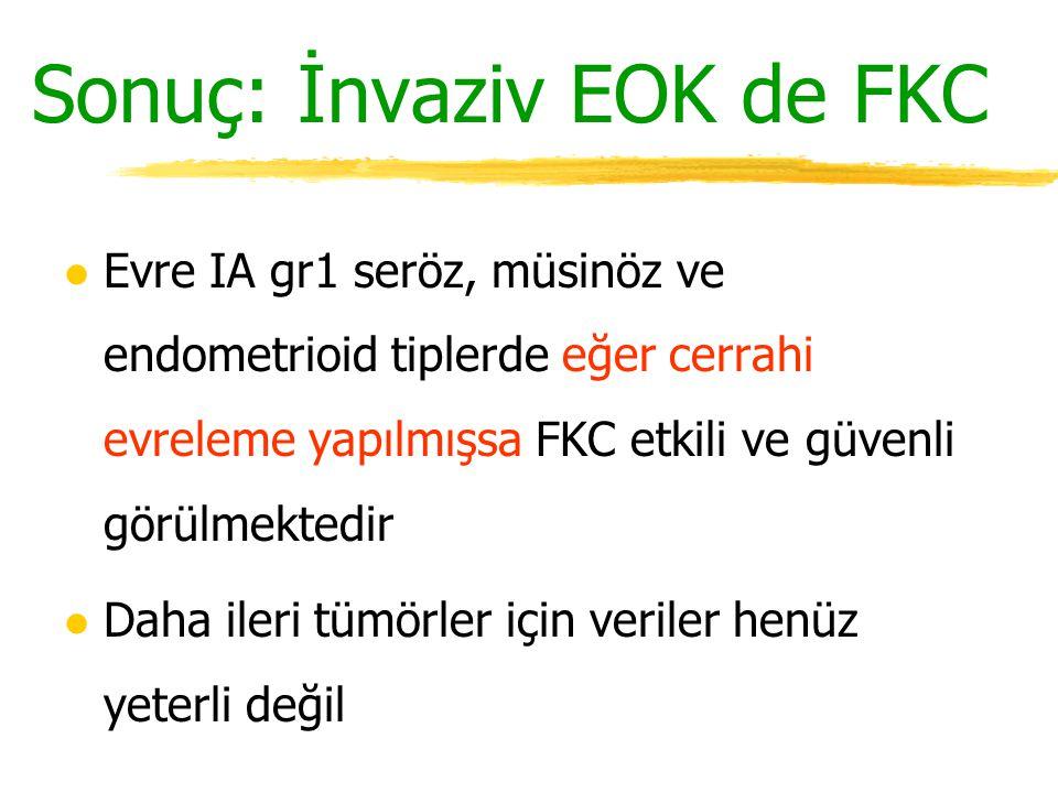 Sonuç: İnvaziv EOK de FKC l Evre IA gr1 seröz, müsinöz ve endometrioid tiplerde eğer cerrahi evreleme yapılmışsa FKC etkili ve güvenli görülmektedir l