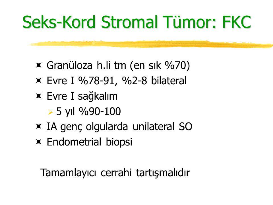 Seks-Kord Stromal Tümor: FKC  Granüloza h.li tm (en sık %70)  Evre I %78-91, %2-8 bilateral  Evre I sağkalım  5 yıl %90-100  IA genç olgularda un
