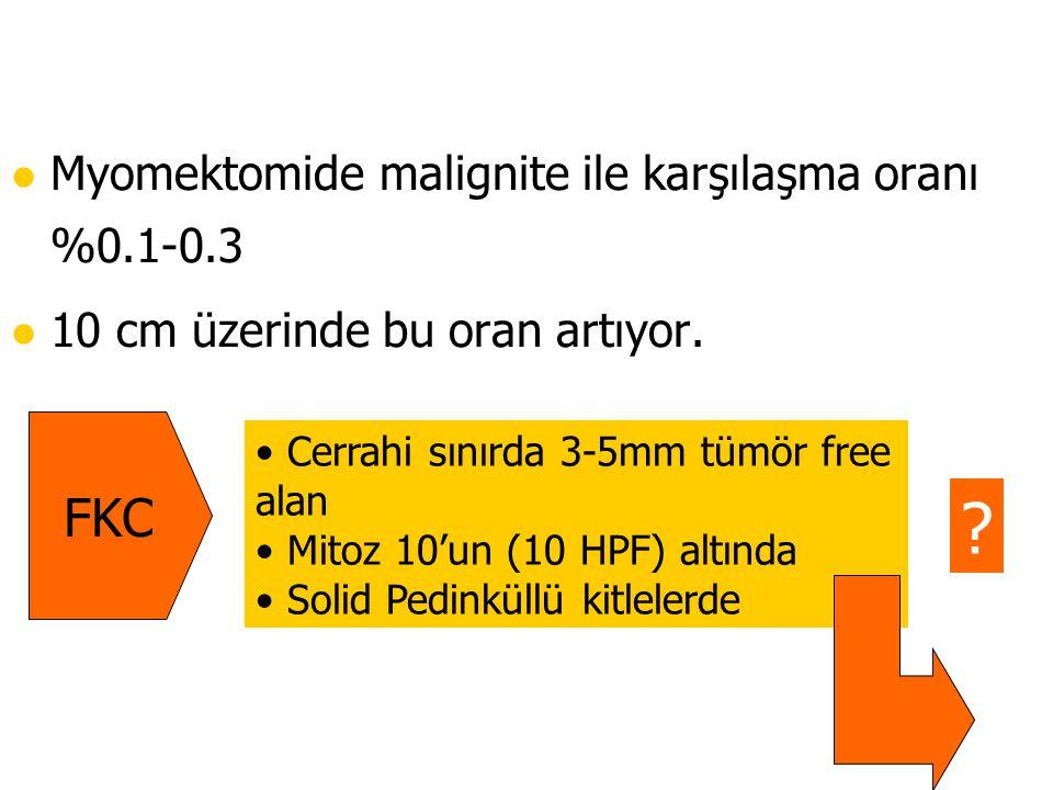 l Myomektomide malignite ile karşılaşma oranı %0.1-0.3 l 10 cm üzerinde bu oran artıyor. Cerrahi sınırda 3-5mm tümör free alan Mitoz 10'un (10 HPF) al