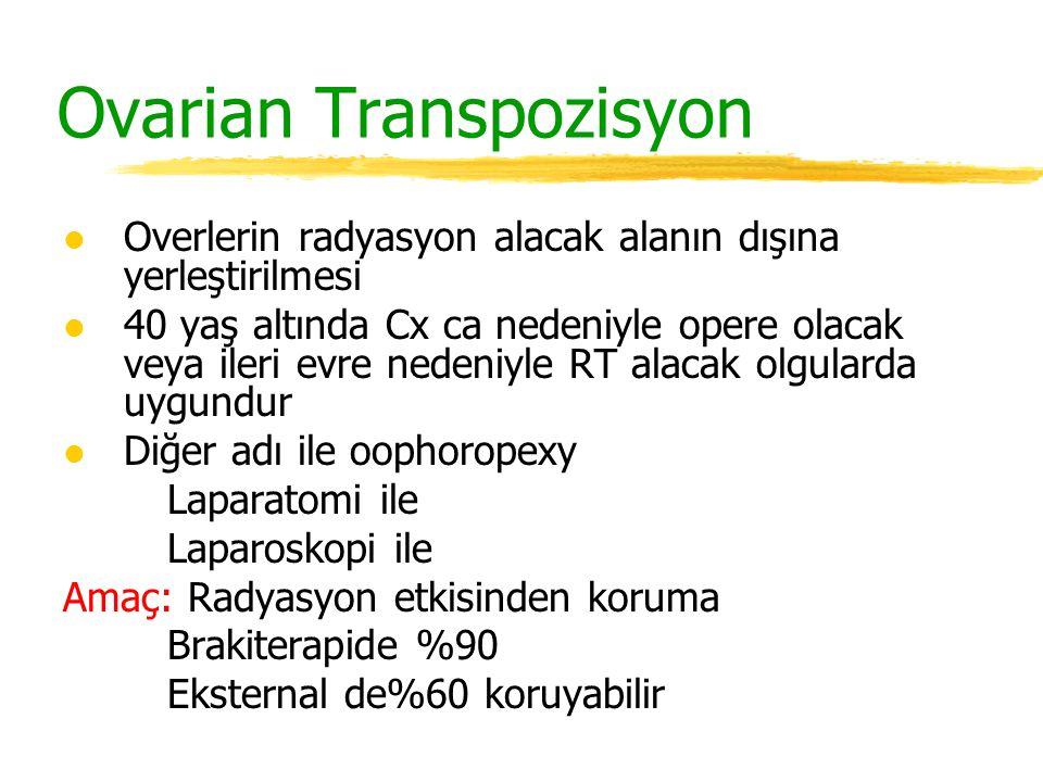 Ovarian Transpozisyon l Overlerin radyasyon alacak alanın dışına yerleştirilmesi l 40 yaş altında Cx ca nedeniyle opere olacak veya ileri evre nedeniy