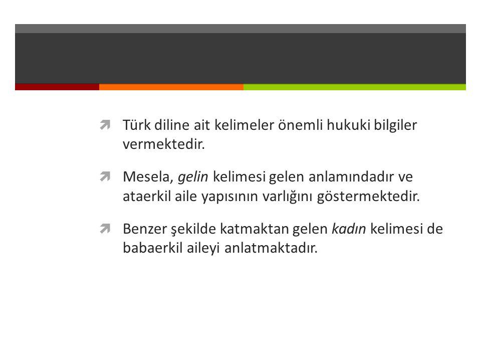  Türk diline ait kelimeler önemli hukuki bilgiler vermektedir.  Mesela, gelin kelimesi gelen anlamındadır ve ataerkil aile yapısının varlığını göste
