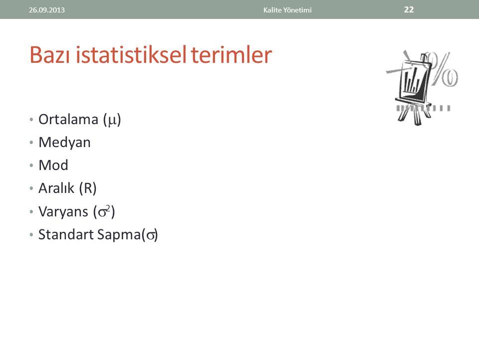 Bazı istatistiksel terimler Ortalama (  ) Medyan Mod Aralık (R) Varyans (  2 ) Standart Sapma(  ) 26.09.2013Kalite Yönetimi 22