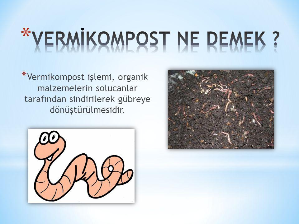 * Vermikompost işlemi, organik malzemelerin solucanlar tarafından sindirilerek gübreye dönüştürülmesidir.