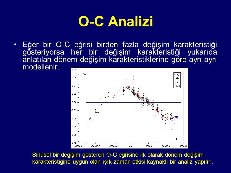O-C Analizi Eğer bir O-C eğrisi birden fazla değişim karakteristiği gösteriyorsa her bir değişim karakteristiği yukarıda anlatılan dönem değişim karak