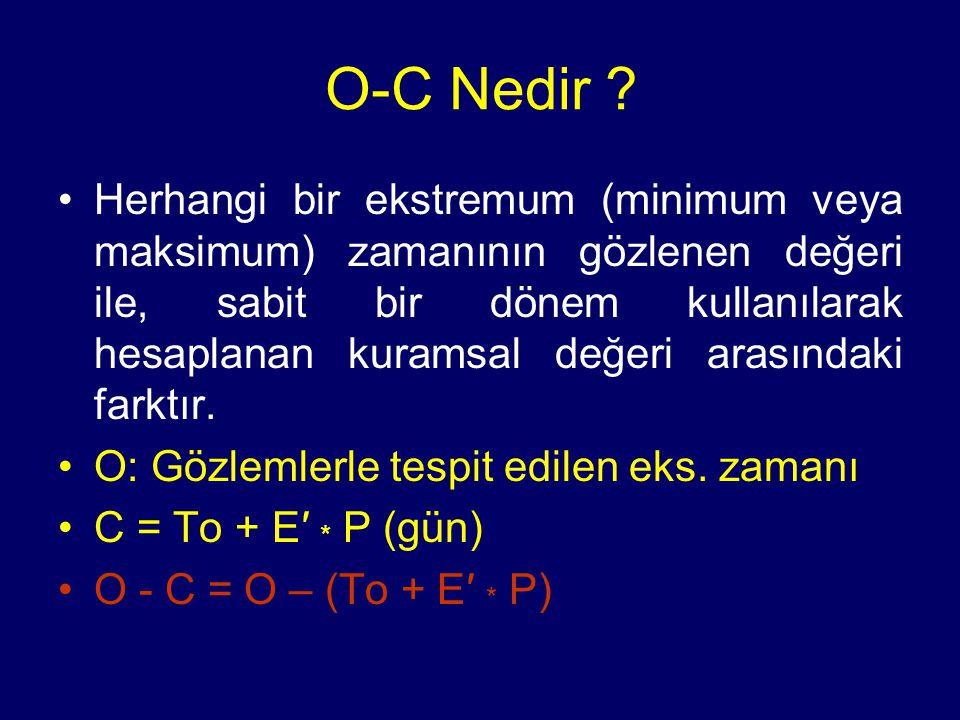 O-C nin oluşturulması 1 çevrim için C = To + 1*P 2 çevrim için C = To + 2*P E çevrim için C = To + E*P sistemin herhangi bir minimum zamanı, C = To + E*P bağıntısından tahmin edilebilir.