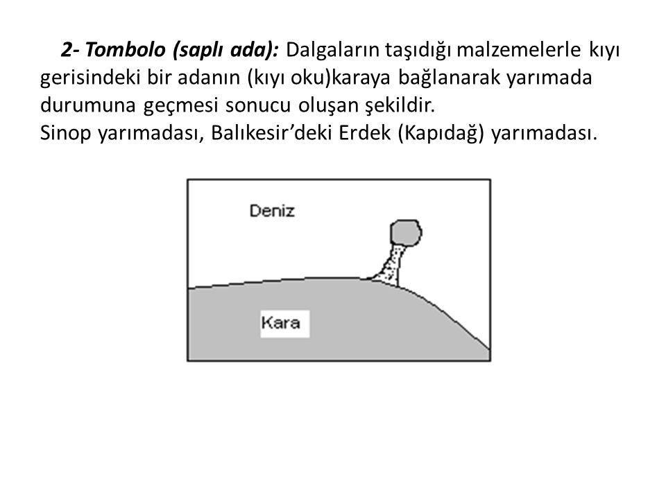2- Tombolo (saplı ada): Dalgaların taşıdığı malzemelerle kıyı gerisindeki bir adanın (kıyı oku)karaya bağlanarak yarımada durumuna geçmesi sonucu oluşan şekildir.