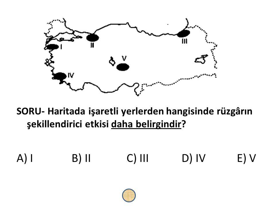 SORU- Haritada işaretli yerlerden hangisinde rüzgârın şekillendirici etkisi daha belirgindir? A) IB) IIC) IIID) IV E) V