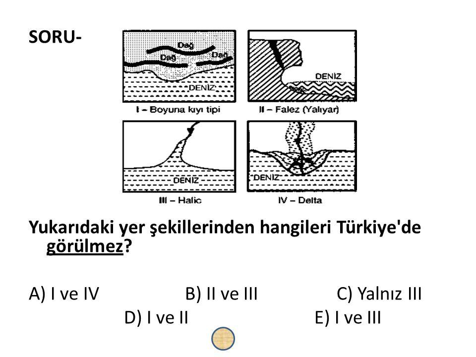 SORU- Yukarıdaki yer şekillerinden hangileri Türkiye'de görülmez? A) I ve IV B) II ve III C) Yalnız III D) I ve IIE) I ve III