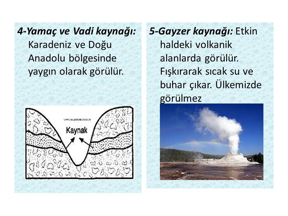 4-Yamaç ve Vadi kaynağı: Karadeniz ve Doğu Anadolu bölgesinde yaygın olarak görülür. 5-Gayzer kaynağı: Etkin haldeki volkanik alanlarda görülür. Fışkı