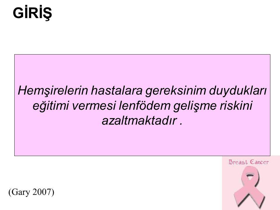 Hemşirelerin hastalara gereksinim duydukları eğitimi vermesi lenfödem gelişme riskini azaltmaktadır. GİRİŞ (Gary 2007)
