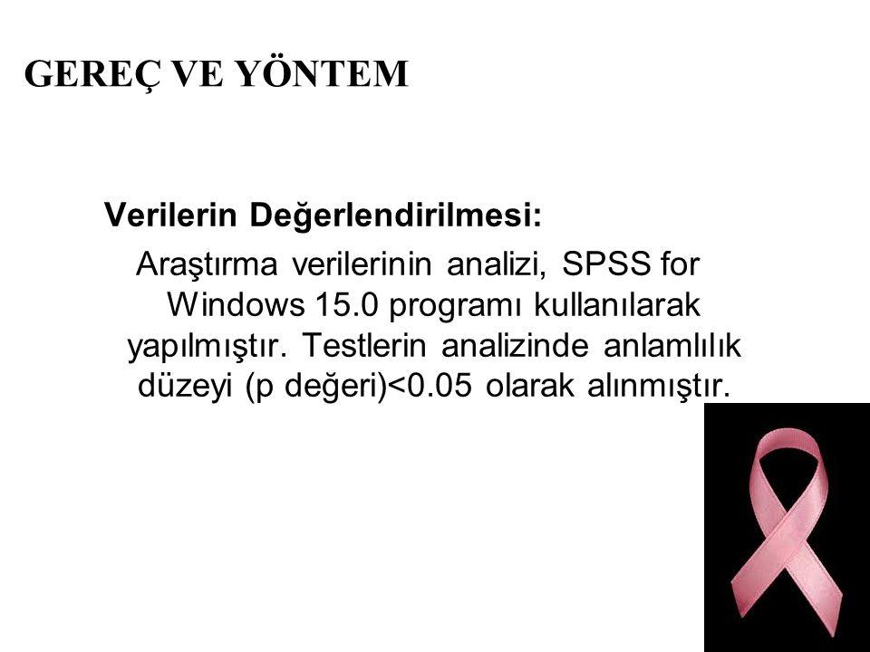 GEREÇ VE YÖNTEM Verilerin Değerlendirilmesi: Araştırma verilerinin analizi, SPSS for Windows 15.0 programı kullanılarak yapılmıştır. Testlerin analizi