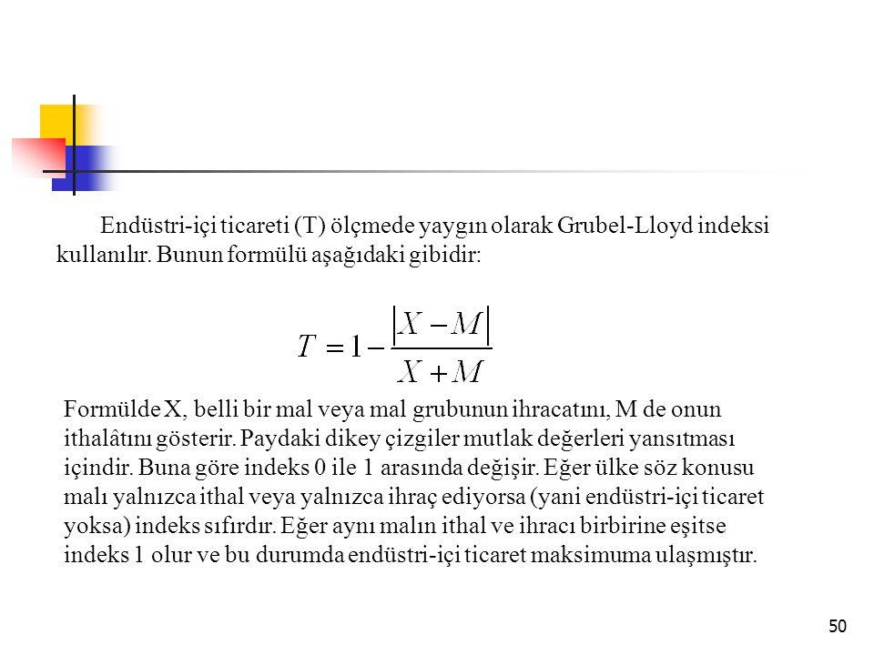 50 Endüstri-içi ticareti (T) ölçmede yaygın olarak Grubel-Lloyd indeksi kullanılır. Bunun formülü aşağıdaki gibidir: Formülde X, belli bir mal veya ma