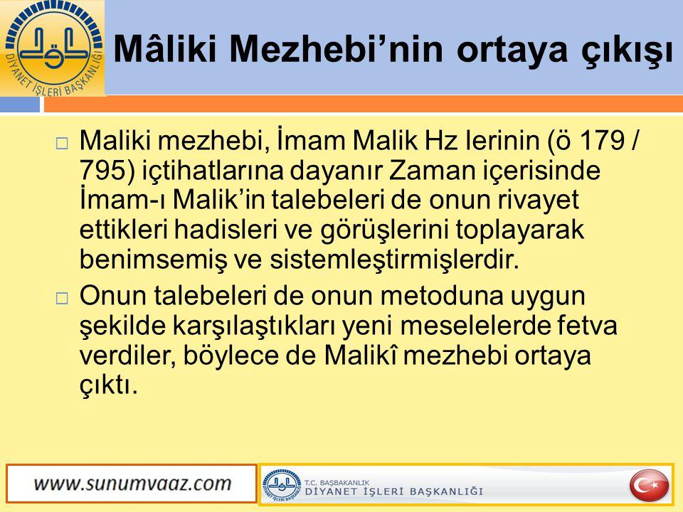 Mâliki Mezhebi'nin ortaya çıkışı  Maliki mezhebi, İmam Malik Hz lerinin (ö 179 / 795) içtihatlarına dayanır Zaman içerisinde İmam-ı Malik'in talebele