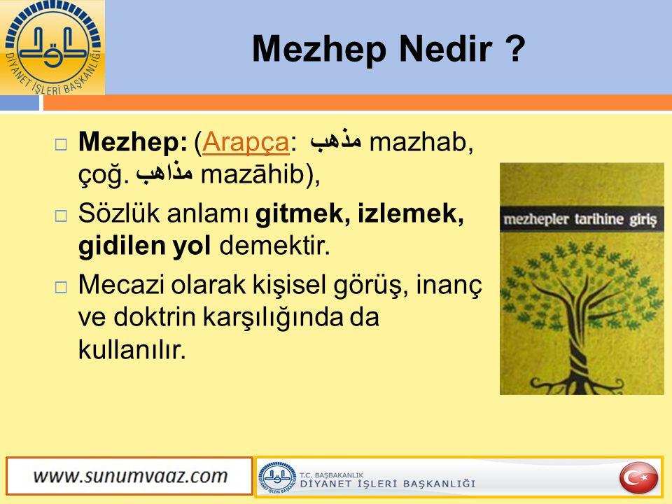 Mezhep Nedir . Mezheb' kelime anlamı itibariyle 'gidilen yol', 'mecra' anlamları taşır.