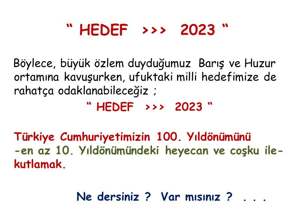 HEDEF >>> 2023 Böylece, büyük özlem duyduğumuz Barış ve Huzur ortamına kavuşurken, ufuktaki milli hedefimize de rahatça odaklanabileceğiz ; HEDEF >>> 2023 Türkiye Cumhuriyetimizin 100.