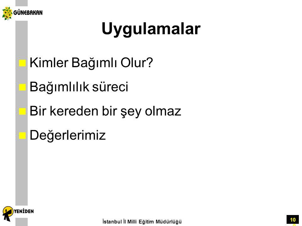 100 Uygulamalar Kimler Bağımlı Olur? Bağımlılık süreci Bir kereden bir şey olmaz Değerlerimiz İstanbul İl Milli Eğitim Müdürlüğü