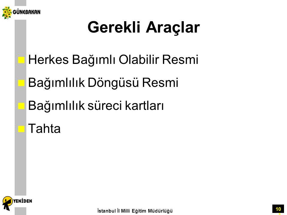 101 Gerekli Araçlar Herkes Bağımlı Olabilir Resmi Bağımlılık Döngüsü Resmi Bağımlılık süreci kartları Tahta İstanbul İl Milli Eğitim Müdürlüğü