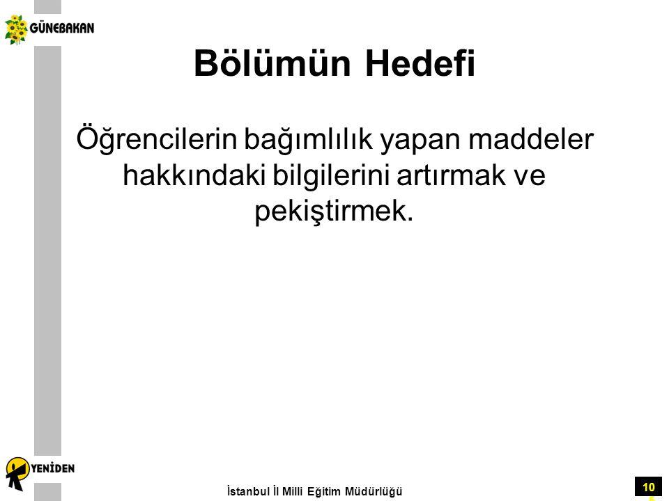 105 Bölümün Hedefi Öğrencilerin bağımlılık yapan maddeler hakkındaki bilgilerini artırmak ve pekiştirmek. İstanbul İl Milli Eğitim Müdürlüğü
