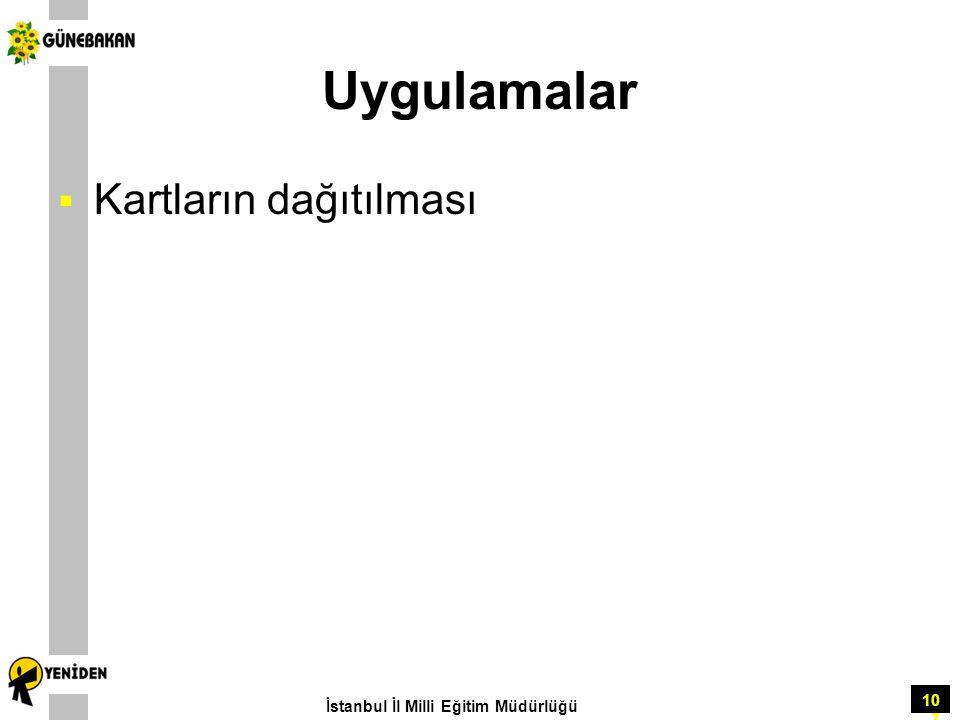 107 Uygulamalar  Kartların dağıtılması İstanbul İl Milli Eğitim Müdürlüğü