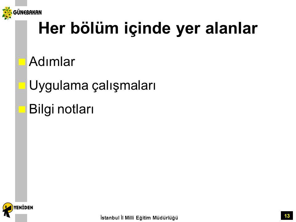 13 Her bölüm içinde yer alanlar Adımlar Uygulama çalışmaları Bilgi notları İstanbul İl Milli Eğitim Müdürlüğü