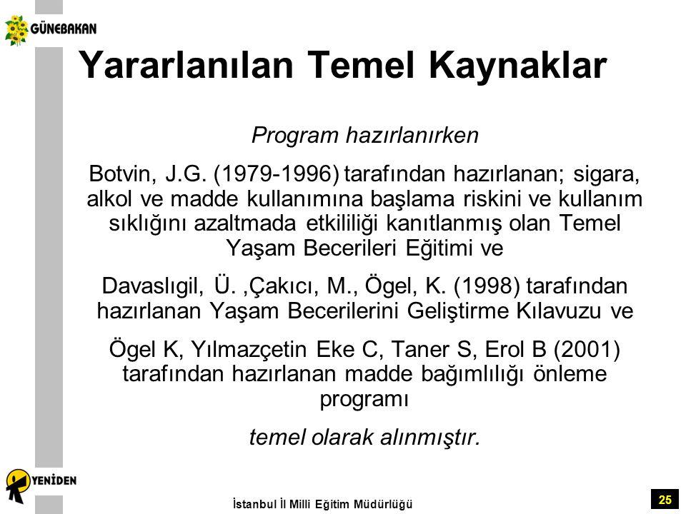 25 Yararlanılan Temel Kaynaklar Program hazırlanırken Botvin, J.G. (1979-1996) tarafından hazırlanan; sigara, alkol ve madde kullanımına başlama riski