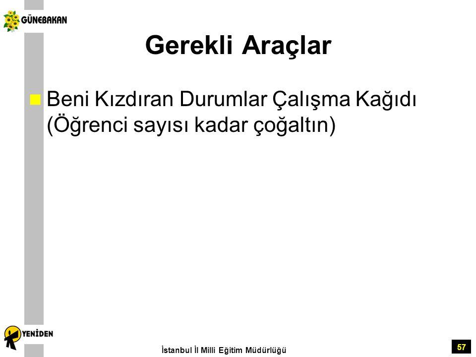 57 Gerekli Araçlar Beni Kızdıran Durumlar Çalışma Kağıdı (Öğrenci sayısı kadar çoğaltın) İstanbul İl Milli Eğitim Müdürlüğü