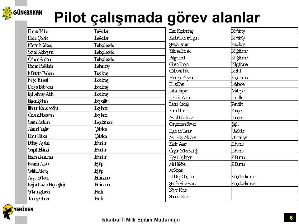 Pilot çalışmada görev alanlar 6 İstanbul İl Milli Eğitim Müdürlüğü