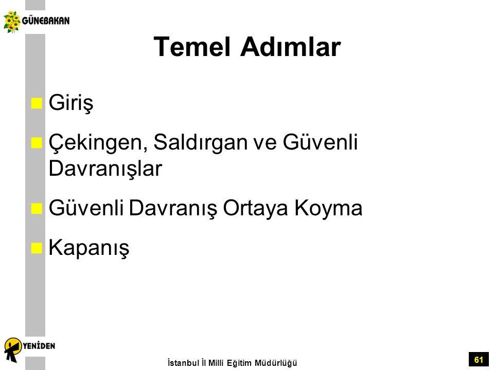 61 Temel Adımlar Giriş Çekingen, Saldırgan ve Güvenli Davranışlar Güvenli Davranış Ortaya Koyma Kapanış İstanbul İl Milli Eğitim Müdürlüğü