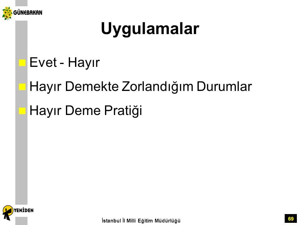 69 Uygulamalar Evet - Hayır Hayır Demekte Zorlandığım Durumlar Hayır Deme Pratiği İstanbul İl Milli Eğitim Müdürlüğü