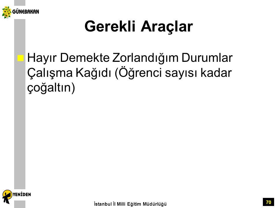 70 Gerekli Araçlar Hayır Demekte Zorlandığım Durumlar Çalışma Kağıdı (Öğrenci sayısı kadar çoğaltın) İstanbul İl Milli Eğitim Müdürlüğü