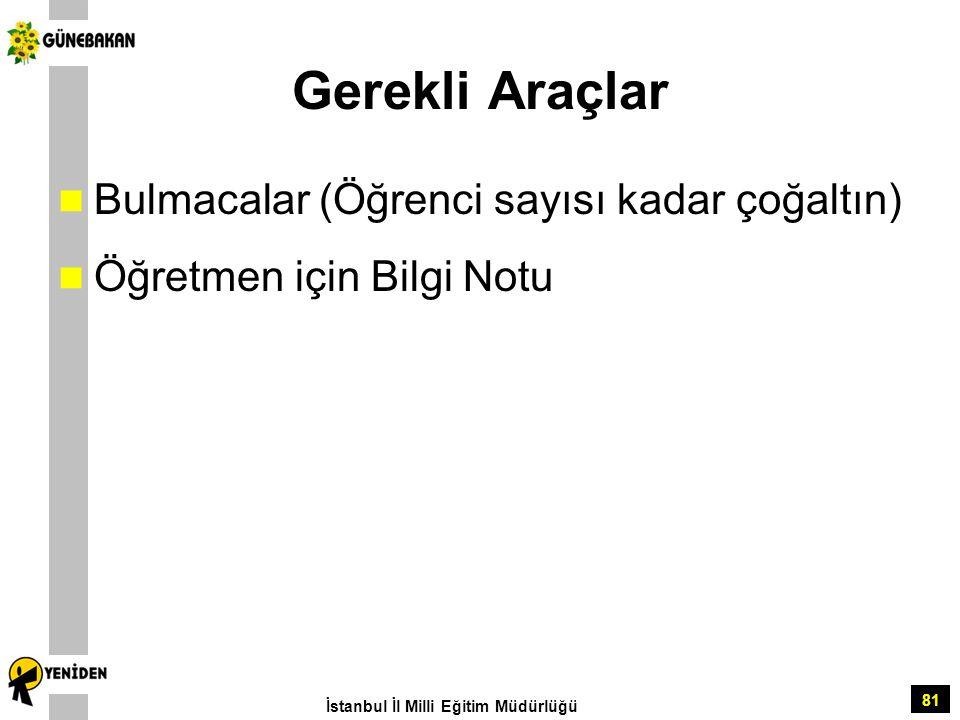 81 Gerekli Araçlar Bulmacalar (Öğrenci sayısı kadar çoğaltın) Öğretmen için Bilgi Notu İstanbul İl Milli Eğitim Müdürlüğü